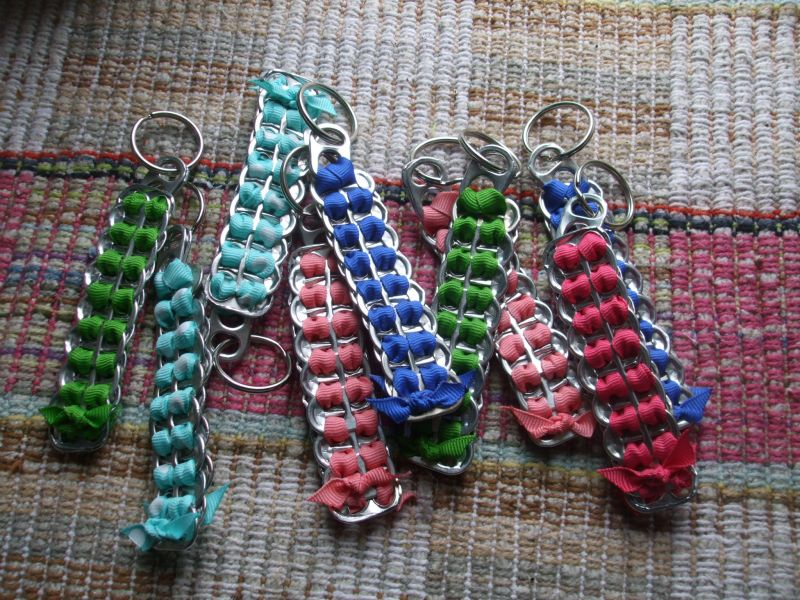 Upcycled Tab Top Key Chain Fobs